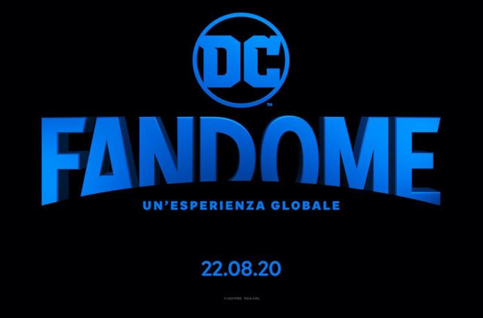 DC Fandome scritto in blu su sfondo nero