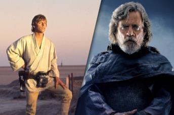 Luke Skywalker in Guerre Stellari (1977) e Gli ultimi Jedi (2017)