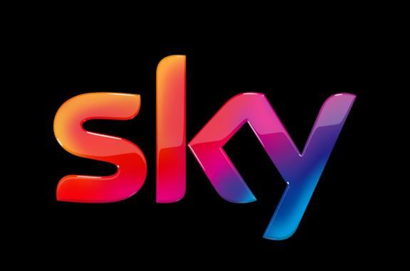 Il logo di Sky su sfondo nero