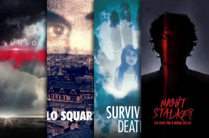 I poster di Unsolved Mysteries, Lo squartatore, Surviving Death, Night Stalker