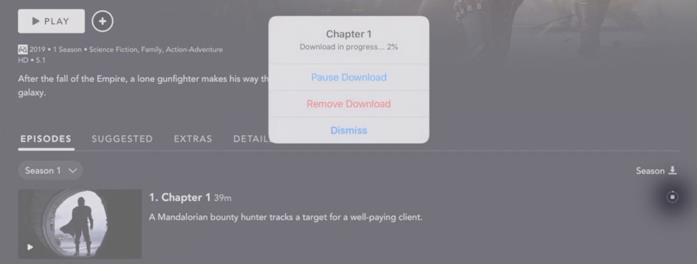 Download di singolo episodio di una serie Tv su Disney plus