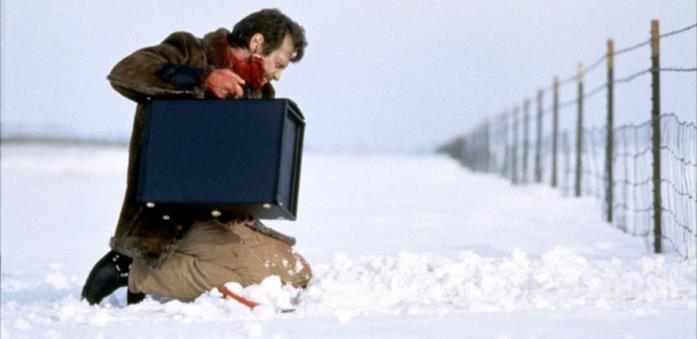 Carl nasconde la valigia piena di soldi in una scena di Fargo