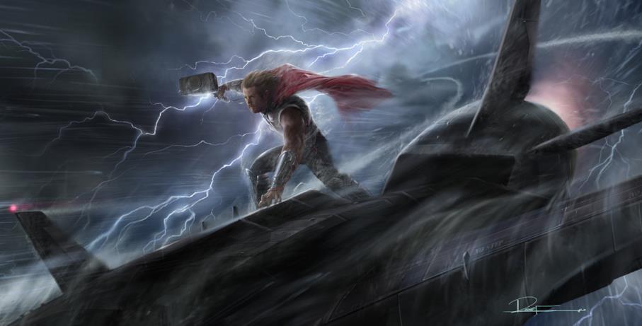 Il Dio del Tuono atterra sull'aereo dello S.H.I.E.L.D.