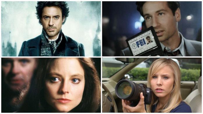 Primi piani di Sherlock Holmes, Fox Mulder, Clarice Starling e Veronica Mars