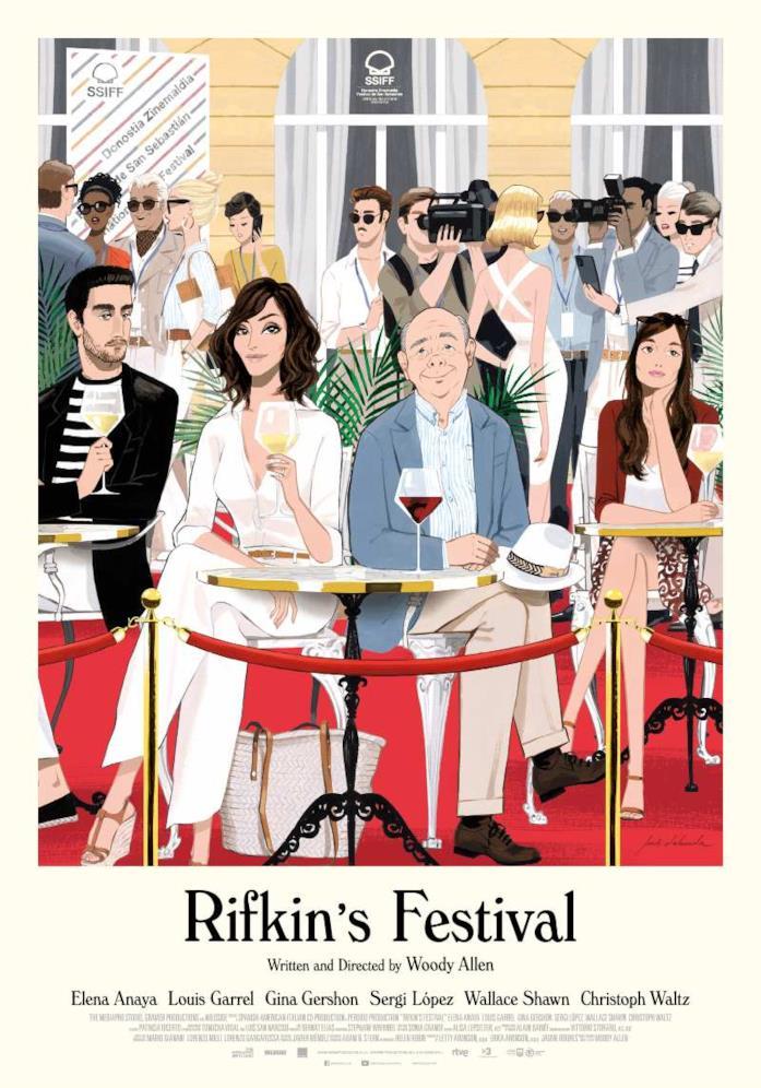 I protagonisti di Rifkin's Festival nel poster realizzato come se fosse un disegno