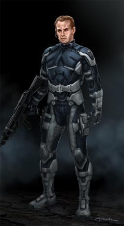 Un agente dello S.H.I.E.L.D. armato con un grosso fucile