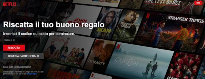 Screen della pagina Netflix per riscattare un codice