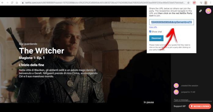 L'URL di Netflix Party da condividere e (a sinistra) la chatroom