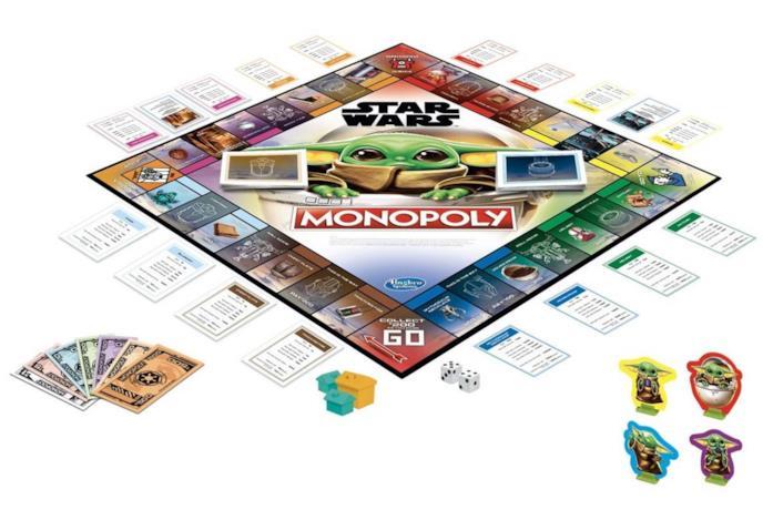 Un'immagine della plancia di gioco del Monopoly di Baby Yoda