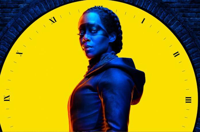 Un'immagine dell'attrice Regina King nel poster di Watchmen