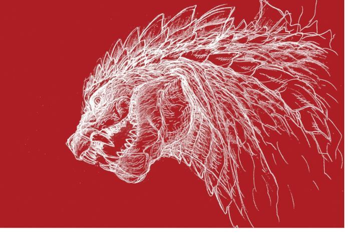 Godzilla disegnato in bianco su sfondo rosso