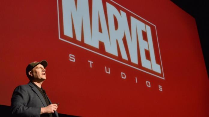 Il presidente dei Marvel Studios Kevin Feige durante un panel della compagnia