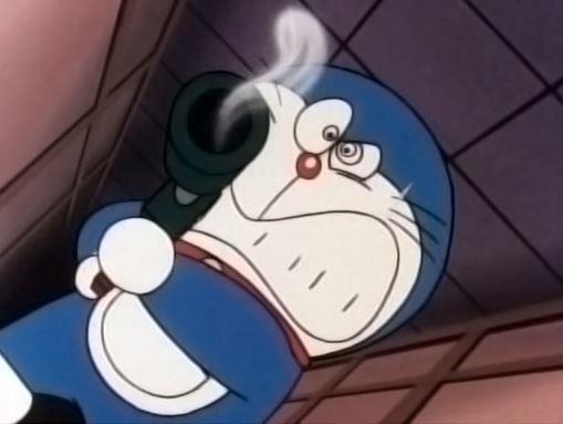 Doraemon impugna un'arma da fuoco