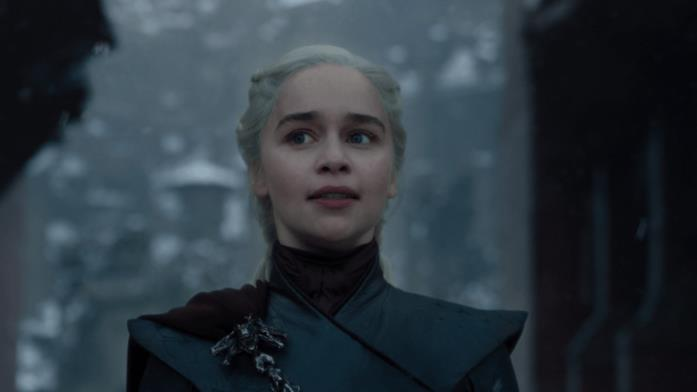 Emilia Clarke nei panni di Daenerys Targaryen in Game of Thrones 8x06