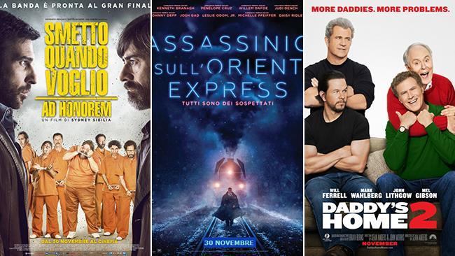 I poster dei film Smetto Quando Voglio - Ad Honorem, Assassinio sull'Orient Express, Daddy's Home 2