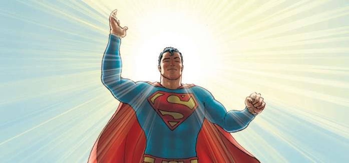 Mezzobusto di Superman disegnato da Frank Quitely, da All-Star Superman, con il sole alle sue spalle