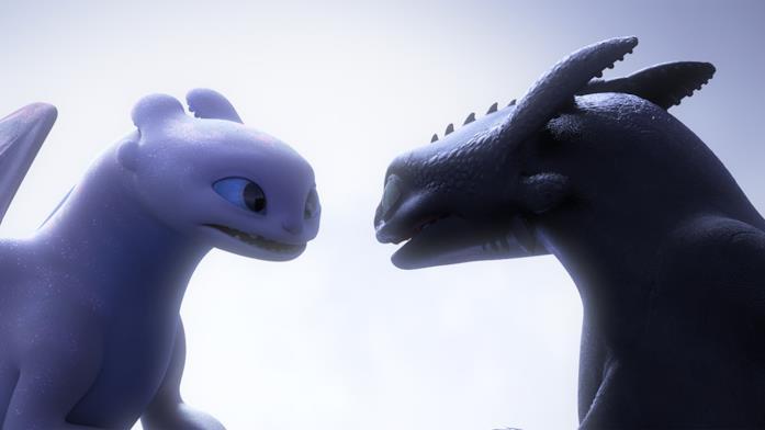 Sdentato e la sua compagna in Dragon Trainer 3