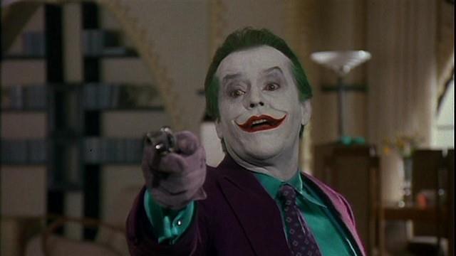 Jack Nicholson nei panni del Joker in una scena di Batman del 1989
