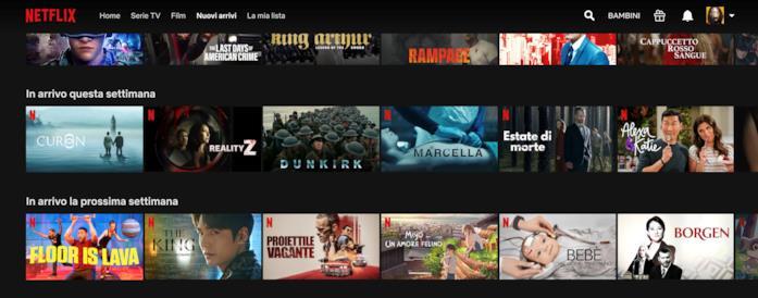 Screen della sezione 'Nuovi arrivi' su Netflix via browser web