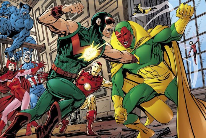 I Vendicatori guardano Visione e Wonder Man combattere