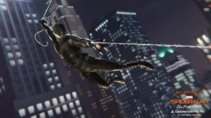 Immagine promozionale della Stealth Suit di Marvel's Spider-Man per PlayStation 4