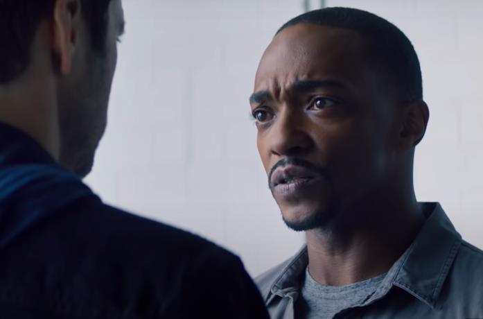 Un'immagine di Sam Wilson in The Falcon and the Winter Soldier