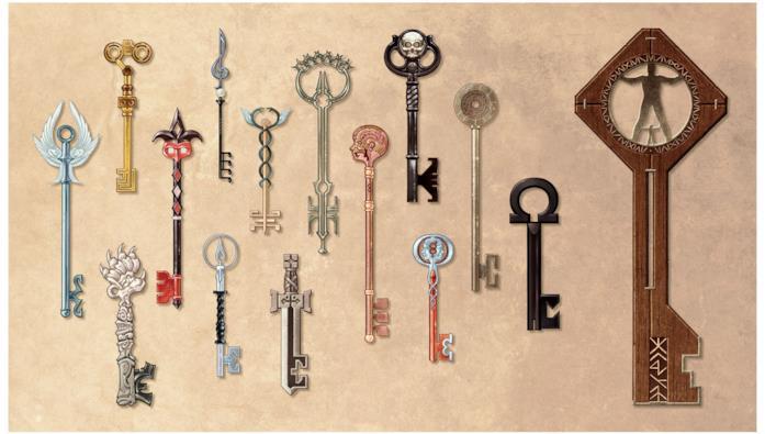 Alcune delle chiavi presenti nella serie di fumetti Locke & Key