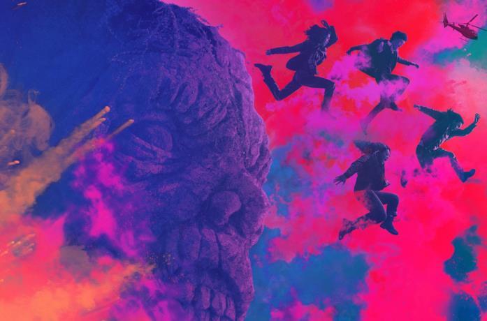 I protagonisti di The Walking Dead: World Beyond saltano in delle nuvole colorate