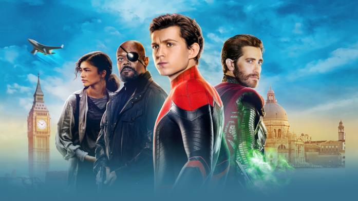 Zendaya, Samuel L. Jackson, Tom Holland e Jake Gyllenhaali in un promo di Spider-Man: Far From Home
