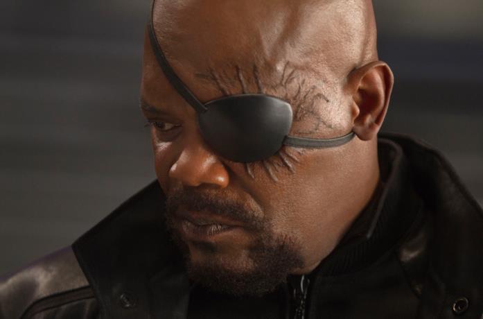 Samul L. Jackson nei panni di Nick Fury in The Avengers