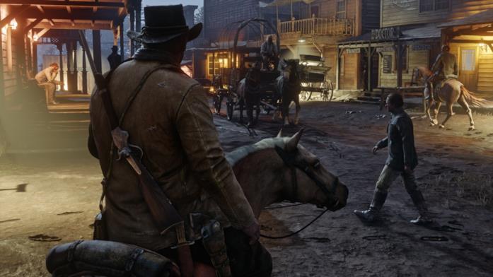 Il protagonista di RDR2 a cavallo