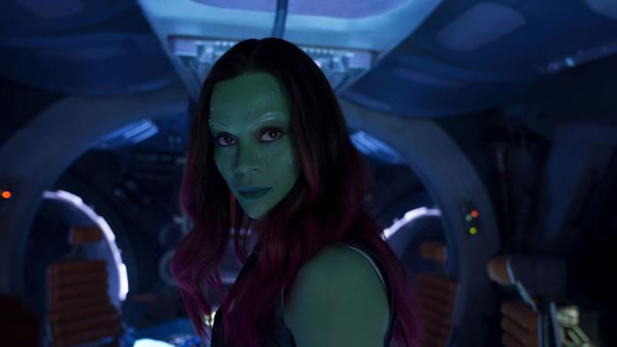 Zoe Saldana come Gamora in Guardiani della Galassia 2