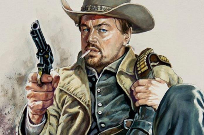 Un artwork di Rick Dalton nella finta serie Bounty Law
