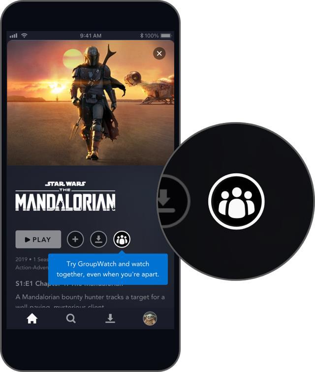 L'icona della funzione GroupWatch nella scheda di The Mandalorian su Disney+