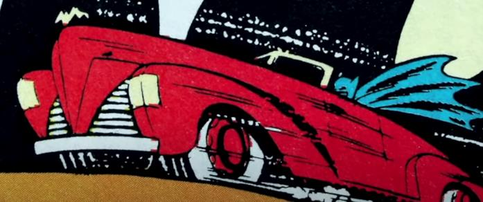 L'auto di Batman di colore rosso