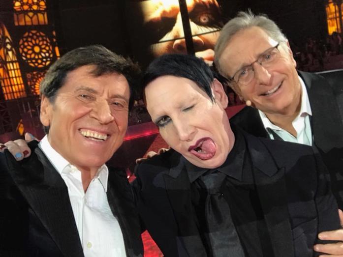 Marylin Manson con Gianni Morandi e Paolo Bonolis