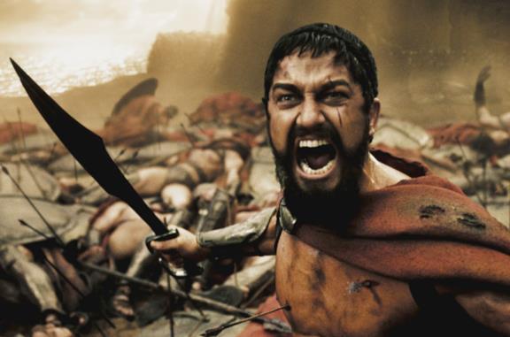 Gerard Butler nei panni di Re Leonida in 300