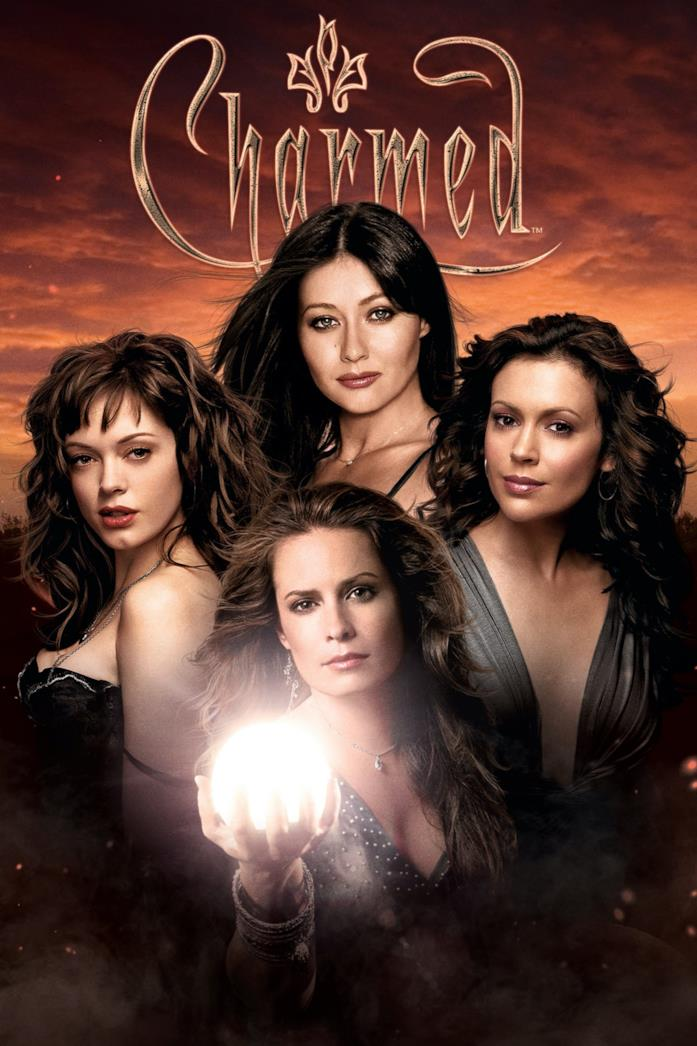Shannen Doherty, Holly Marie Combs, Alyssa Milano e Rose McGowan nel poster di Streghe