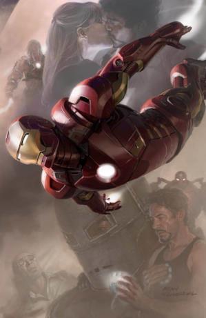 Tony Stark e Iron Man in volo