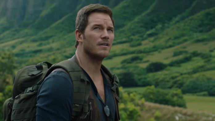 Chris Pratt in una scena di Jurassic World: Il regno distrutto