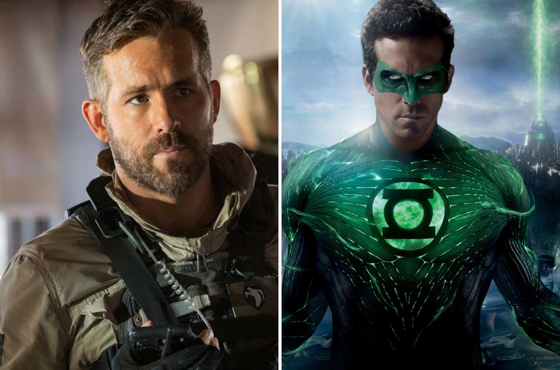 Ryan Reynolds in 6 Underground e a destra nei panni di Lanterna Verde