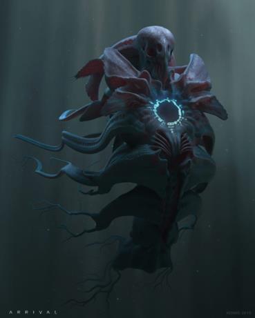 Arrival, nel primo concept art di Konig è ritratto un alieno imponente