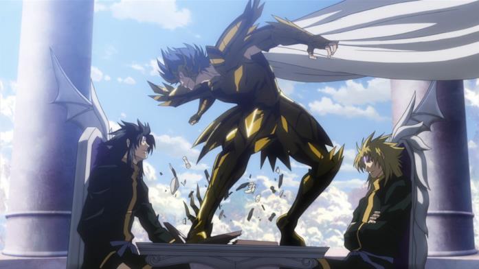 Manigoldo interrompe la partita a scacchi di Thanatos e Hypnos