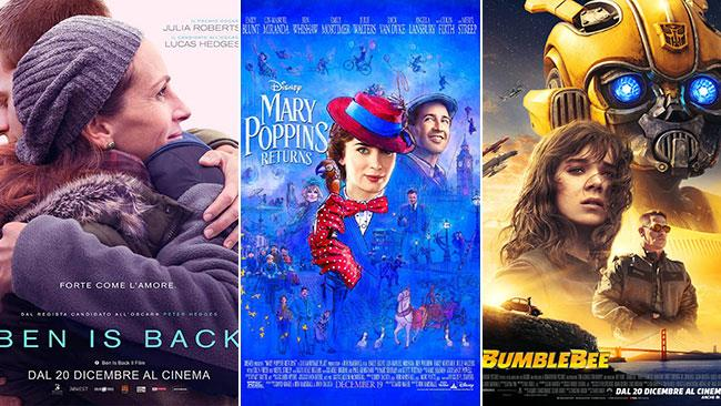 I poster di Ben is Back, Il ritorno di Mary Poppins e Bumblebee