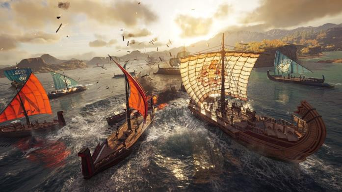 Un intenso combattimento navale in Assassin's Creed Odyssey