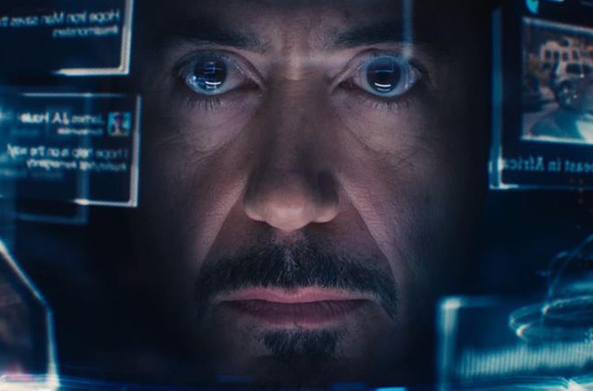 Un'immagine dall'interno del casco di Iron man