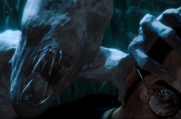 Uno spaventoso mostro attacca un uomo