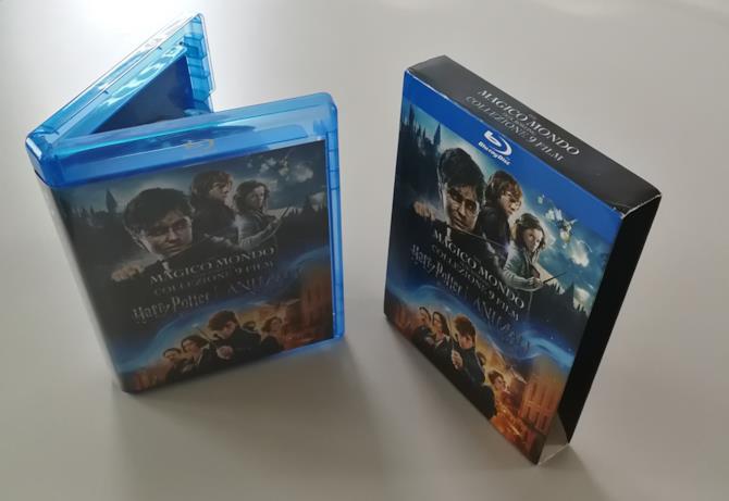 Vista frontale del boxset di Harry Potter