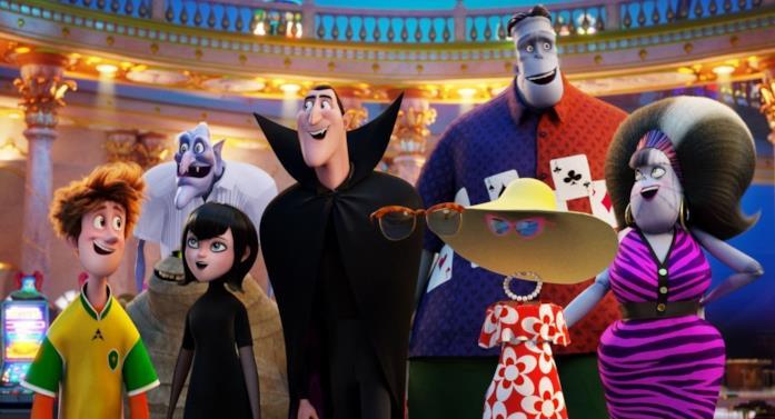 Un'immagine che ritrae alcuni dei personaggi di Hotel Transylvania, con Dracula al centro