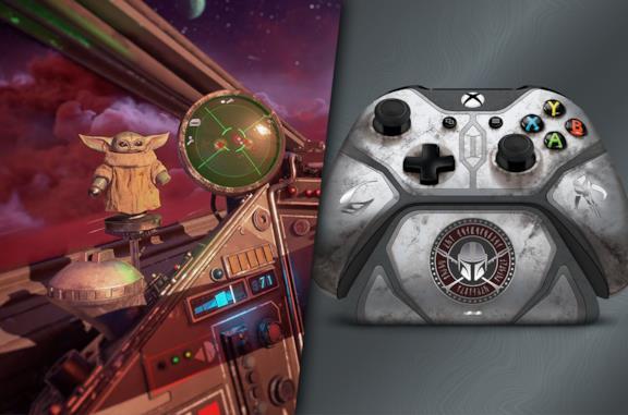 Baby Yoda in Star Wars: Squadrons e il controller per Xbox One ispirato a The Mandalorian